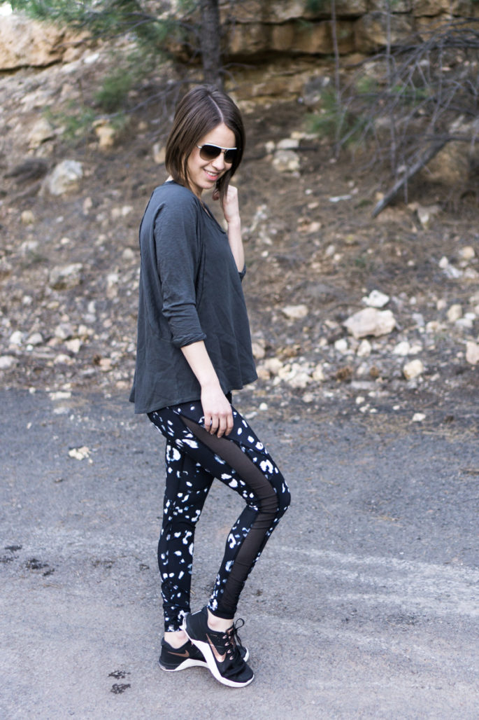 Printed workout leggings + slouchy top