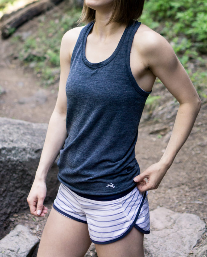 Navy and white running outfit