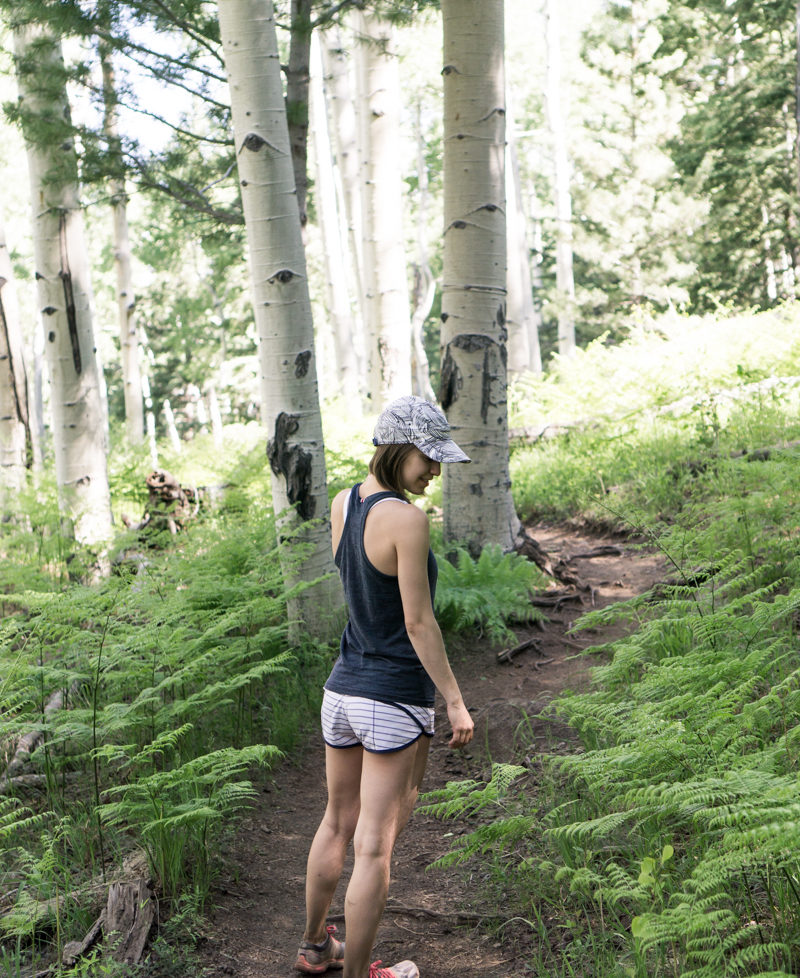 Trail running outfit / lululemon shorts and Tracksmith tank