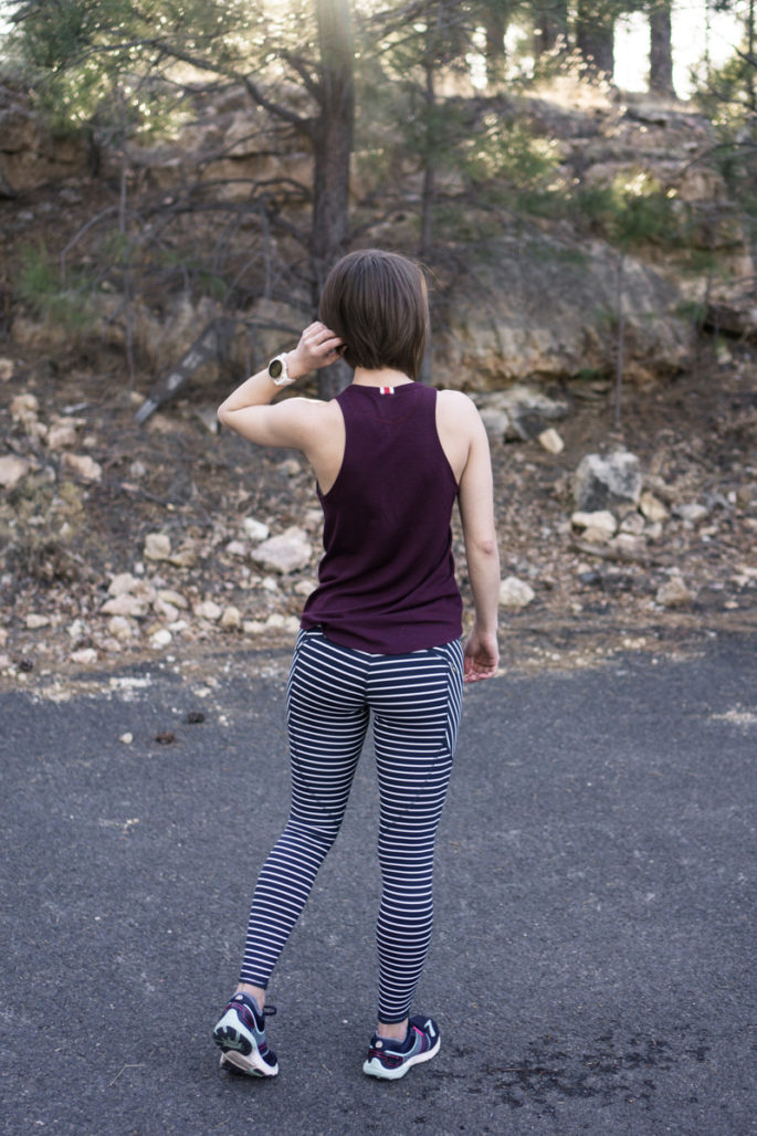 Navy and white striped running tights
