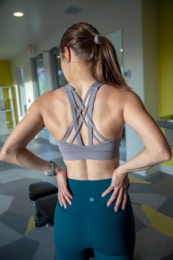 Lululemon strappy sports bra gym outfit
