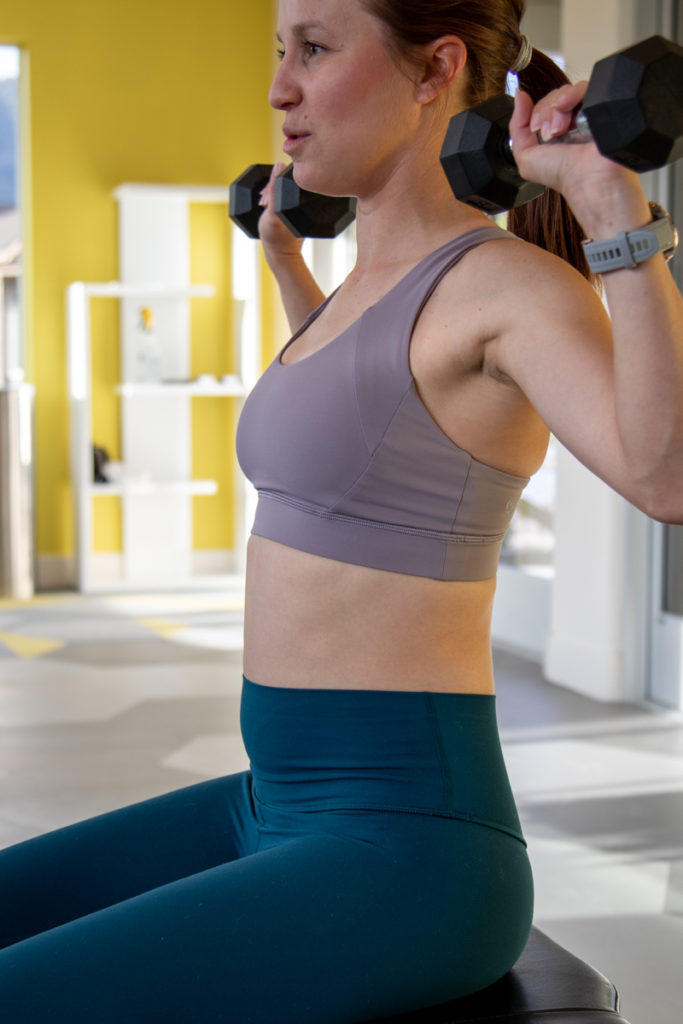 Lululemon strength training workout outfit