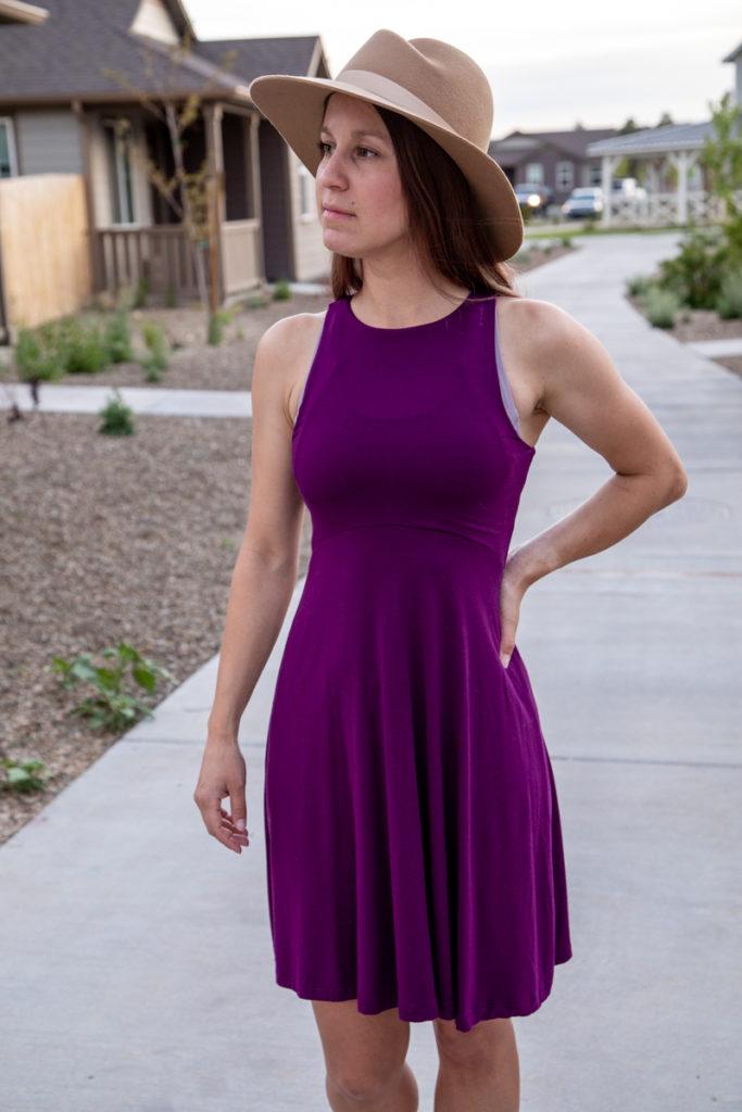 Athleisure dress and wide brim fedora